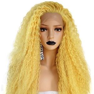 ✨YELLOW KINKY LOOK LACE-FRONT WIG *NWT* 🧡